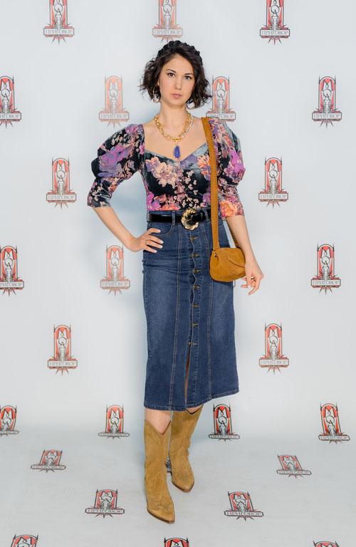 джинсовая юбка миди с пуговицами