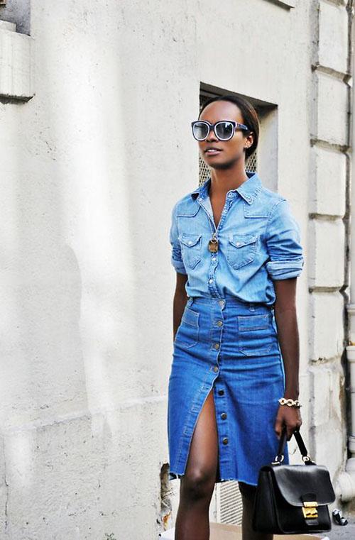 джинсовая юбка миди с разрезом спереди, джинсовая юбка миди с пуговицами