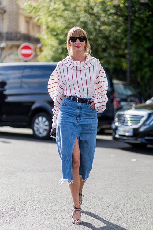 джинсовая юбка миди с разрезом спереди