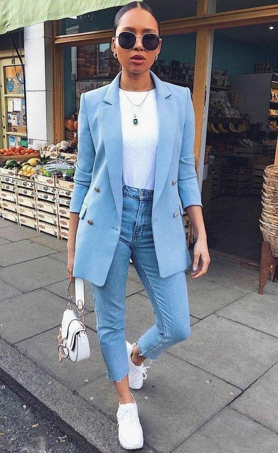 Голубой жакет, женский голубой пиджак